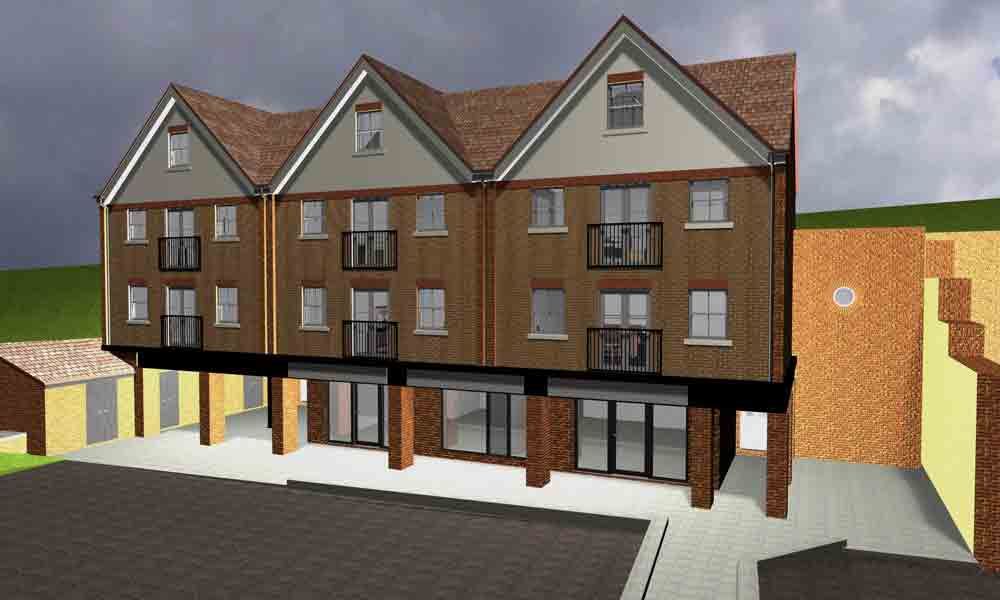 Mixed use development of town houses and retail